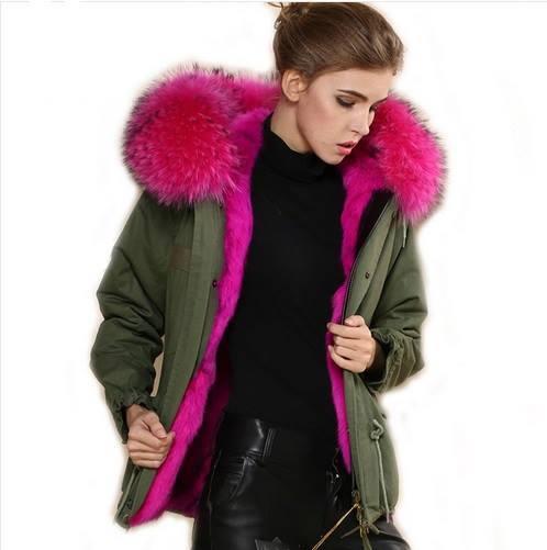 kurtka z różowym futrem